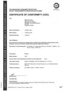 Chứng nhận Singapore COC